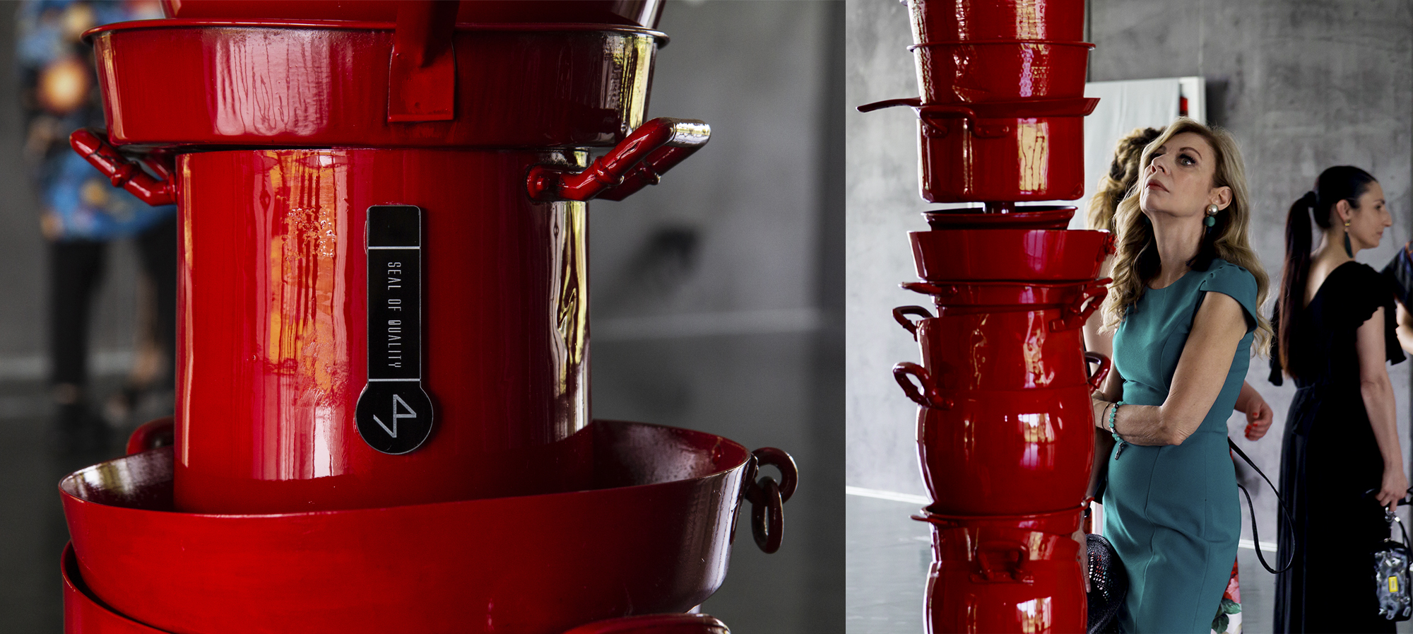 COLONNA-Ø VARIABLE DIAMETER – HEIGHT 3.65 M – POTS, PANS, RED ENAMEL-©2019 – edition of 1-(courtesy by Antonello Colonna collection)