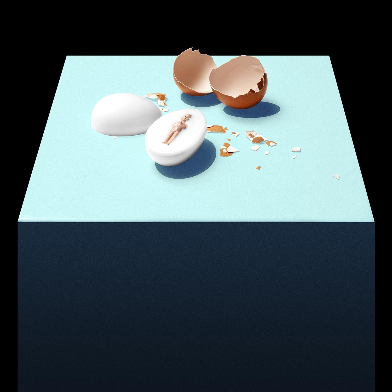 UOMO SODO-10CM X 10CM X 5CM – RUBBER, PLA, EGG SHELL-©2020 – edition of 1