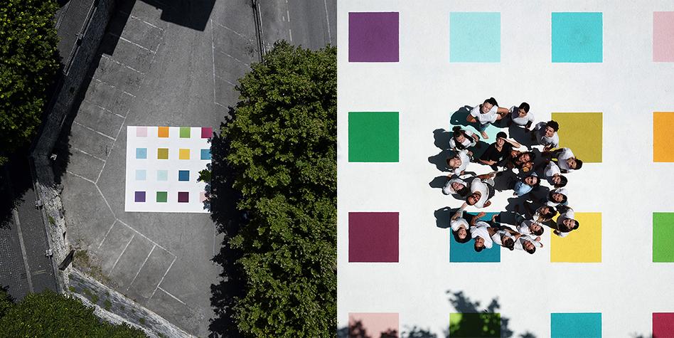 Limiti-8Mt X 8Mt – Pavement Art / Painting with plastometric resins-©2020 – edition of 1-Piazzale Curzio Castagnacci – Italy, Lazio, Alatri